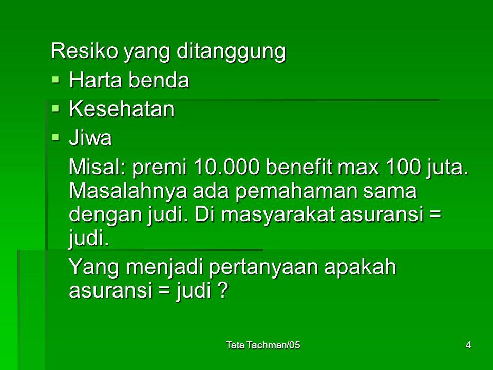 Tata Tachman/054 Resiko yang ditanggung  Harta benda  Kesehatan  Jiwa Misal: premi 10.000 benefit max 100 juta. Masalahnya ada pemahaman sama denga
