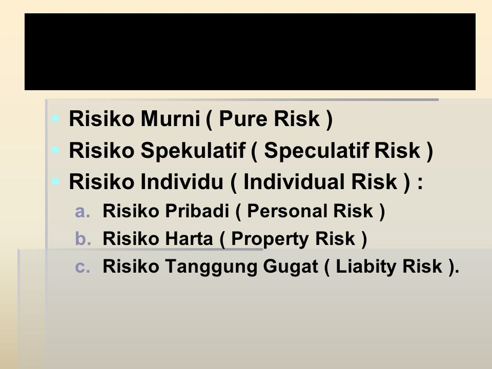 Janis Risiko :   Risiko Murni ( Pure Risk )   Risiko Spekulatif ( Speculatif Risk )   Risiko Individu ( Individual Risk ) : a. a.Risiko Pribadi