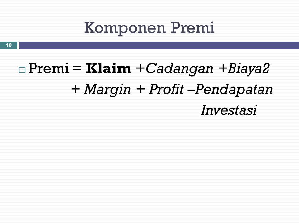 1. Adequacy (kecukupan) 2. Reasonable (wajar) 3. Equity (adil) 4. Competitiveness (Mampu bersaing) Prinsip-prinsip Perhitungan Premi Asuransi 9