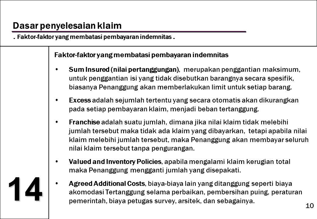 10 14 Dasar penyelesaian klaim. Faktor-faktor yang membatasi pembayaran indemnitas. Faktor-faktor yang membatasi pembayaran indemnitas •Sum Insured (n