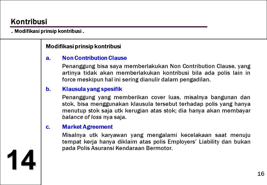 16 14 Kontribusi. Modifikasi prinsip kontribusi. Modifikasi prinsip kontribusi a.Non Contribution Clause Penanggung bisa saya memberlakukan Non Contri