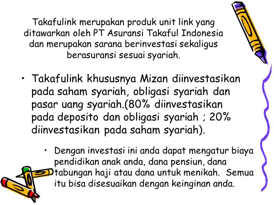 Takafulink merupakan produk unit link yang ditawarkan oleh PT Asuransi Takaful Indonesia dan merupakan sarana berinvestasi sekaligus berasuransi sesuai syariah.