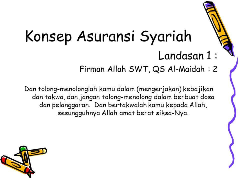 Konsep Asuransi Syariah Landasan 1 : Firman Allah SWT, QS Al-Maidah : 2 Dan tolong-menolonglah kamu dalam (mengerjakan) kebajikan dan takwa, dan jangan tolong-menolong dalam berbuat dosa dan pelanggaran.