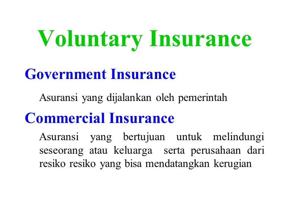 Voluntary Insurance Government Insurance Asuransi yang dijalankan oleh pemerintah Commercial Insurance Asuransi yang bertujuan untuk melindungi seseorang atau keluarga serta perusahaan dari resiko resiko yang bisa mendatangkan kerugian