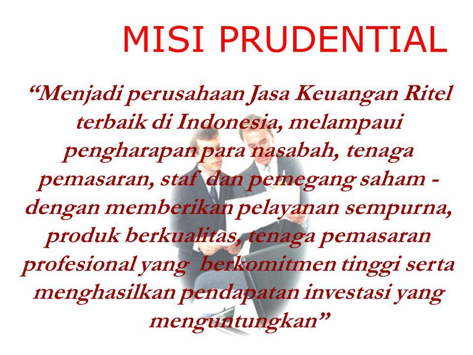 """MISI PRUDENTIAL """"Menjadi perusahaan Jasa Keuangan Ritel terbaik di Indonesia, melampaui pengharapan para nasabah, tenaga pemasaran, staf dan pemegang"""