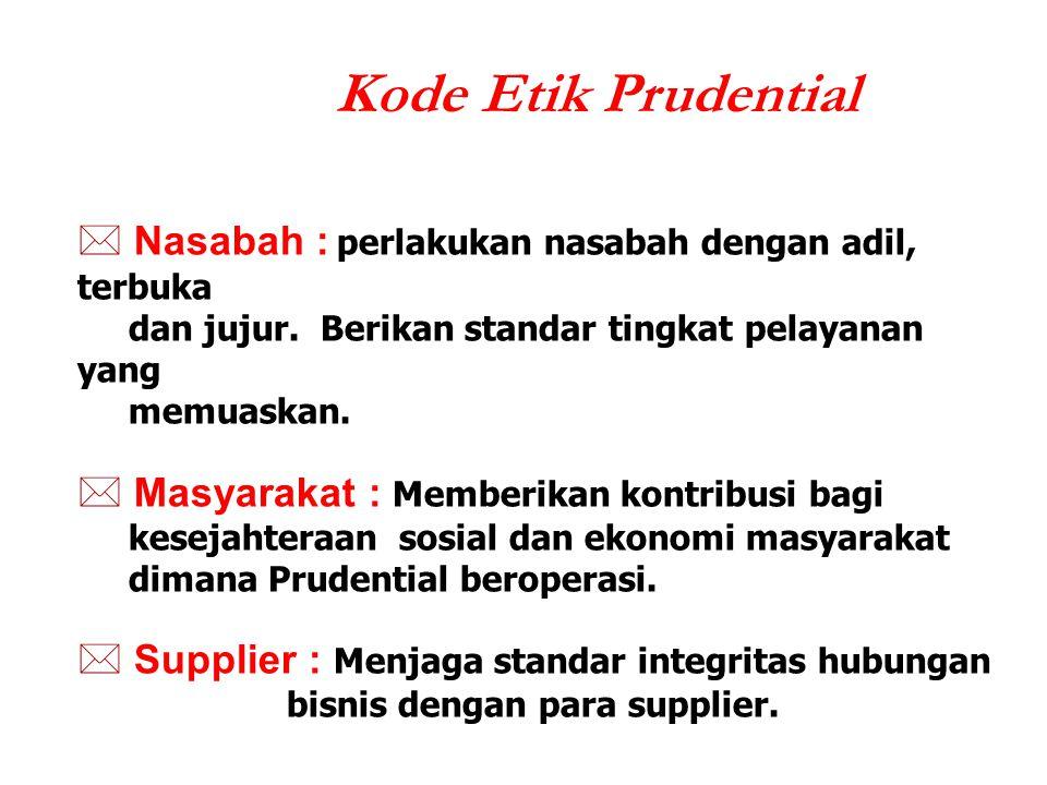 Kode Etik Prudential  Nasabah : perlakukan nasabah dengan adil, terbuka dan jujur. Berikan standar tingkat pelayanan yang memuaskan.  Masyarakat : M