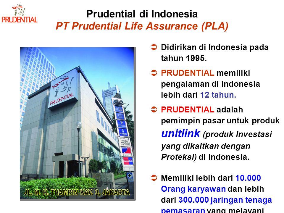 Prudential di Indonesia PT Prudential Life Assurance (PLA) DDidirikan di Indonesia pada tahun 1995. PPRUDENTIAL memiliki pengalaman di Indonesia l
