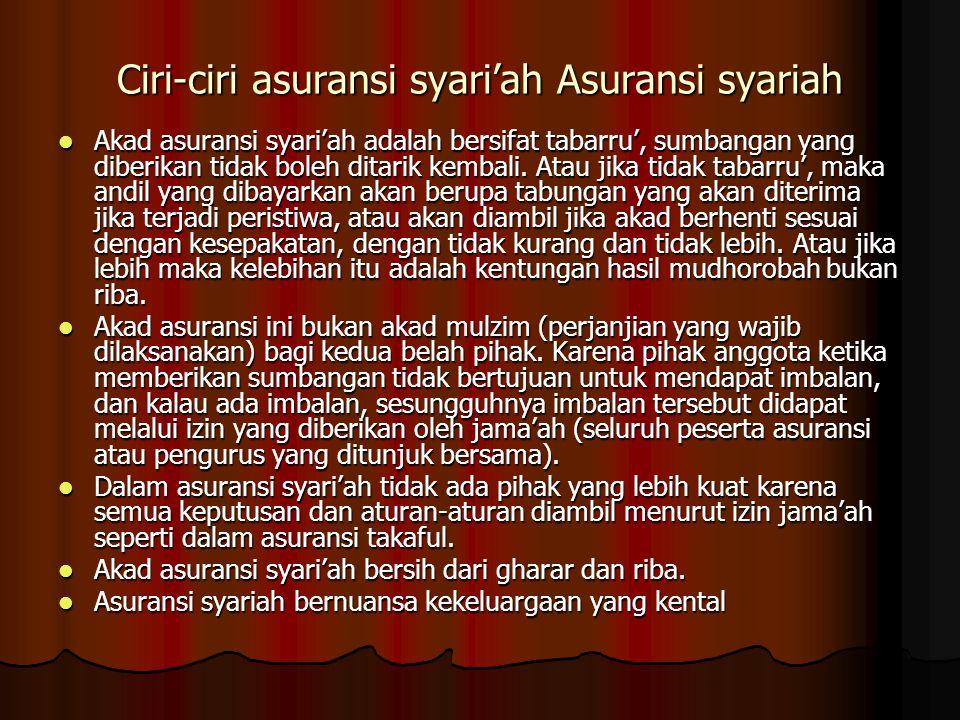 Ciri-ciri asuransi syari'ah Asuransi syariah  Akad asuransi syari'ah adalah bersifat tabarru', sumbangan yang diberikan tidak boleh ditarik kembali.