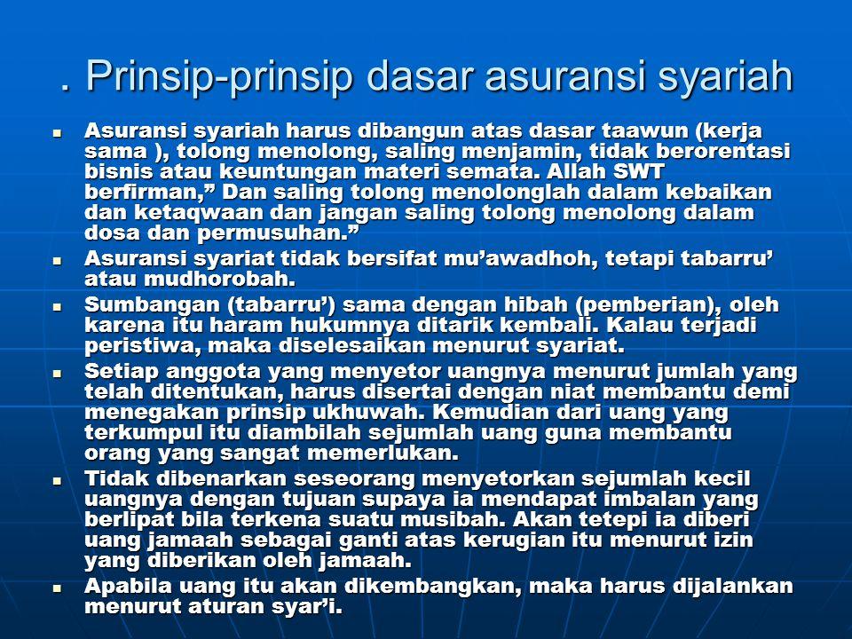 . Prinsip-prinsip dasar asuransi syariah  Asuransi syariah harus dibangun atas dasar taawun (kerja sama ), tolong menolong, saling menjamin, tidak be