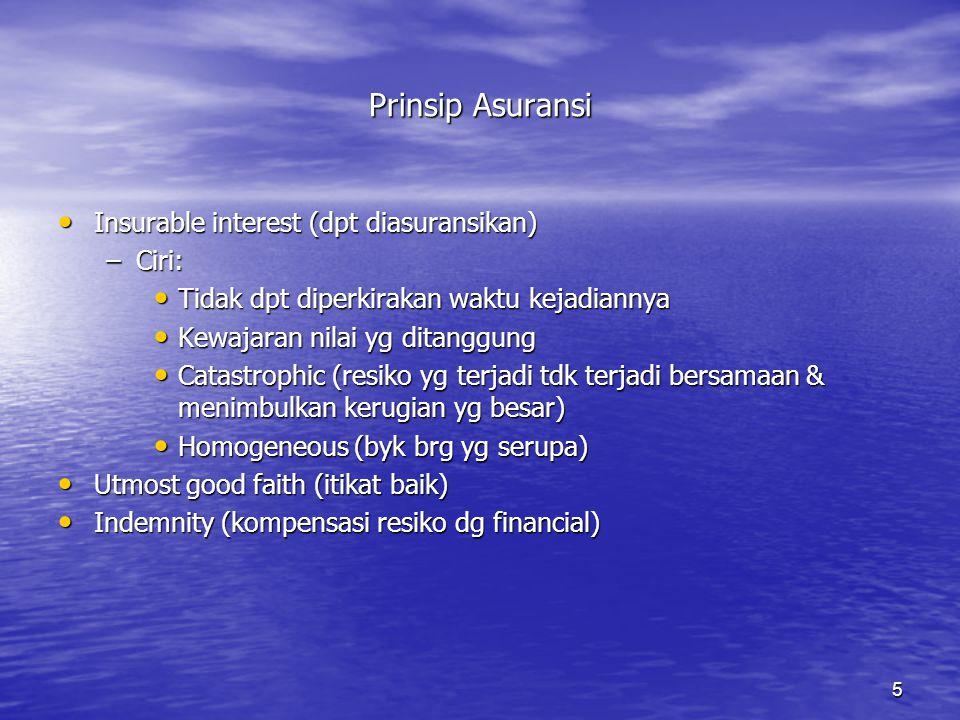 5 Prinsip Asuransi • Insurable interest (dpt diasuransikan) –Ciri: • Tidak dpt diperkirakan waktu kejadiannya • Kewajaran nilai yg ditanggung • Catast