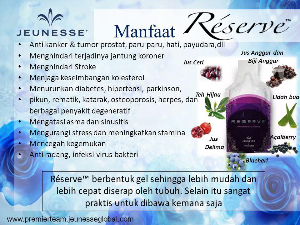 www.premierteam.jeunesseglobal.com Manfaat • Anti kanker & tumor prostat, paru-paru, hati, payudara,dll • Menghindari terjadinya jantung koroner • Men