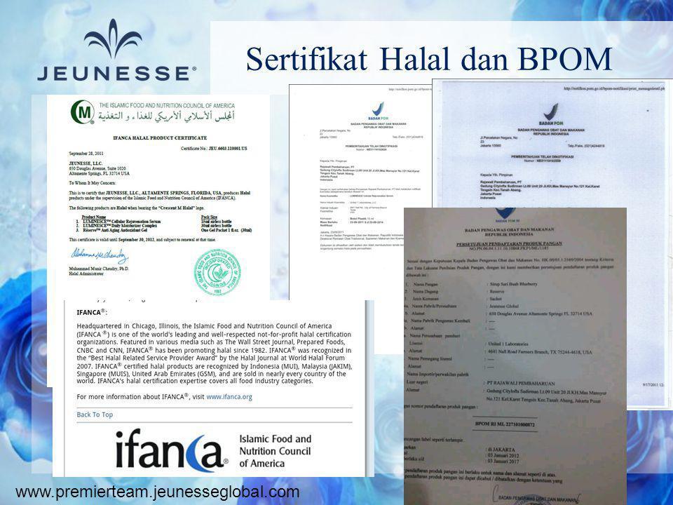 www.premierteam.jeunesseglobal.com Sertifikat Halal dan BPOM