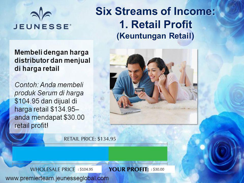 www.premierteam.jeunesseglobal.com Membeli dengan harga distributor dan menjual di harga retail Contoh: Anda membeli produk Serum di harga $104.95 dan