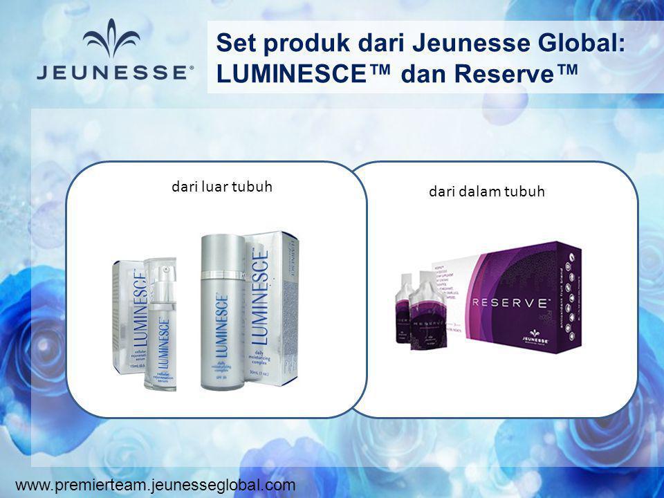 www.premierteam.jeunesseglobal.com Set produk dari Jeunesse Global: LUMINESCE™ dan Reserve™ dari luar tubuh dari dalam tubuh