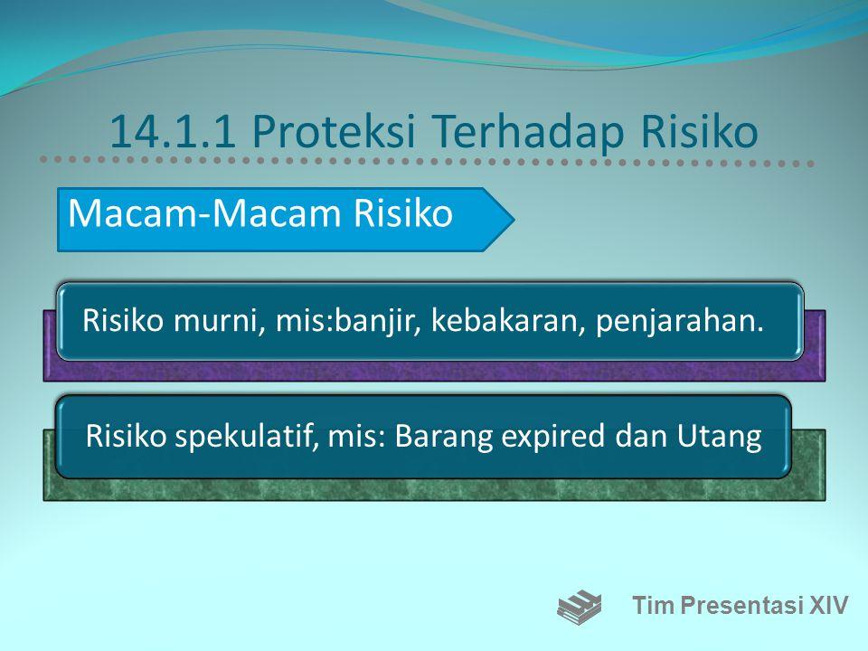 14.1.1 Proteksi Terhadap Risiko Risiko murni, mis:banjir, kebakaran, penjarahan.