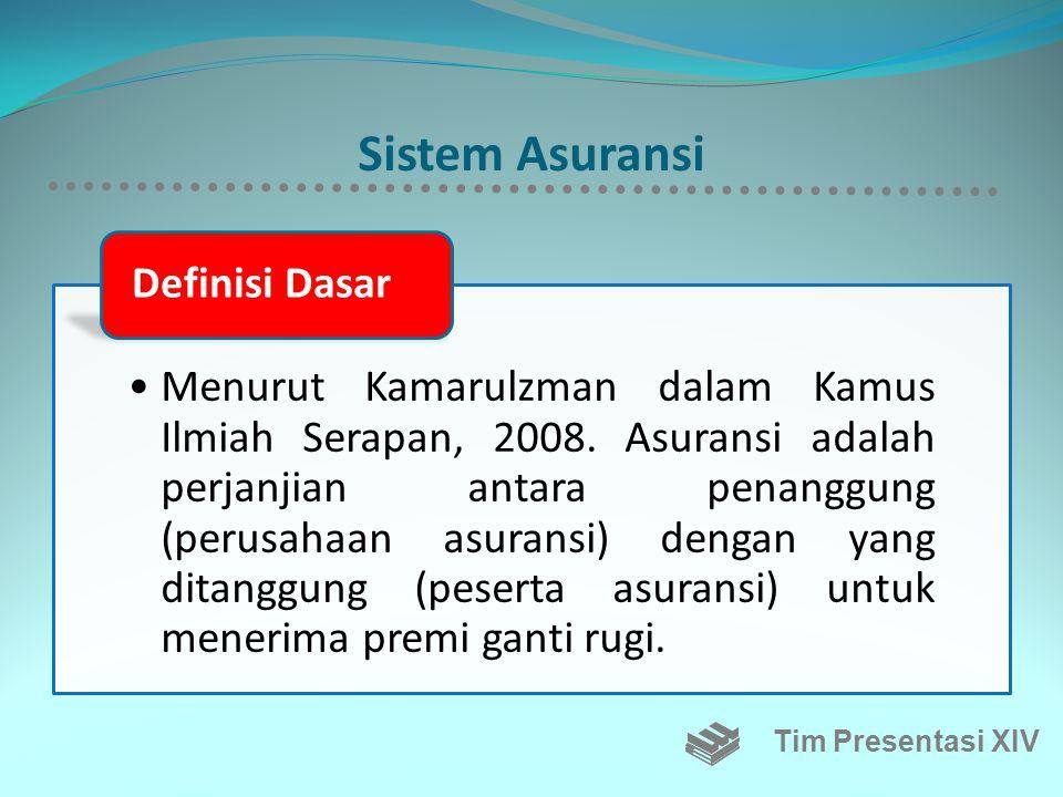 Sistem Asuransi •Menurut Kamarulzman dalam Kamus Ilmiah Serapan, 2008.