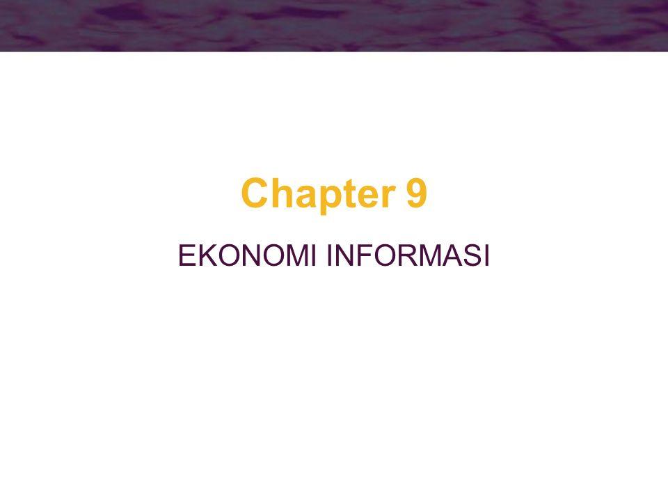 2 Informasi •Informasi adalah karakter penting yang membentuk jenis pasar, namun –Sulit untuk mengukur secara kuantitatif pada informasi yang dihasilkan dari kegiatan berbeda.