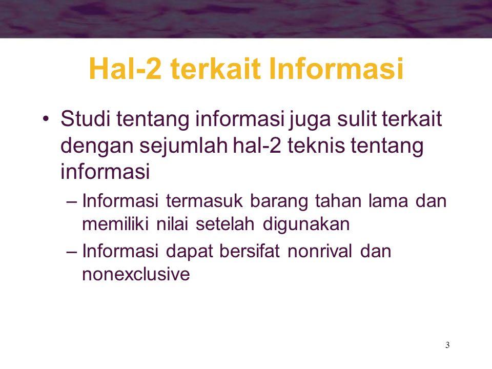 3 Hal-2 terkait Informasi •Studi tentang informasi juga sulit terkait dengan sejumlah hal-2 teknis tentang informasi –Informasi termasuk barang tahan