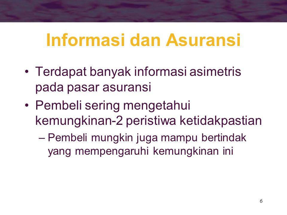 6 Informasi dan Asuransi •Terdapat banyak informasi asimetris pada pasar asuransi •Pembeli sering mengetahui kemungkinan-2 peristiwa ketidakpastian –P