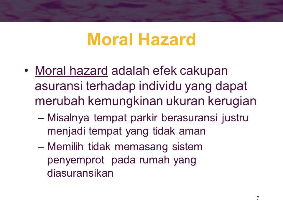7 Moral Hazard •Moral hazard adalah efek cakupan asuransi terhadap individu yang dapat merubah kemungkinan ukuran kerugian –Misalnya tempat parkir ber