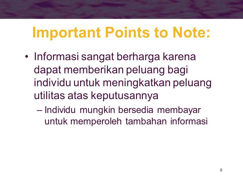 10 Important Points to Note: •Informasi memiliki beberapa karakteristik yang dapat membuatnya menjadi informasi asimetris atau in- efisien, misalnya –Perbedaan biaya-biaya memperoleh sesuatu –Karena adanya aspek barang publik