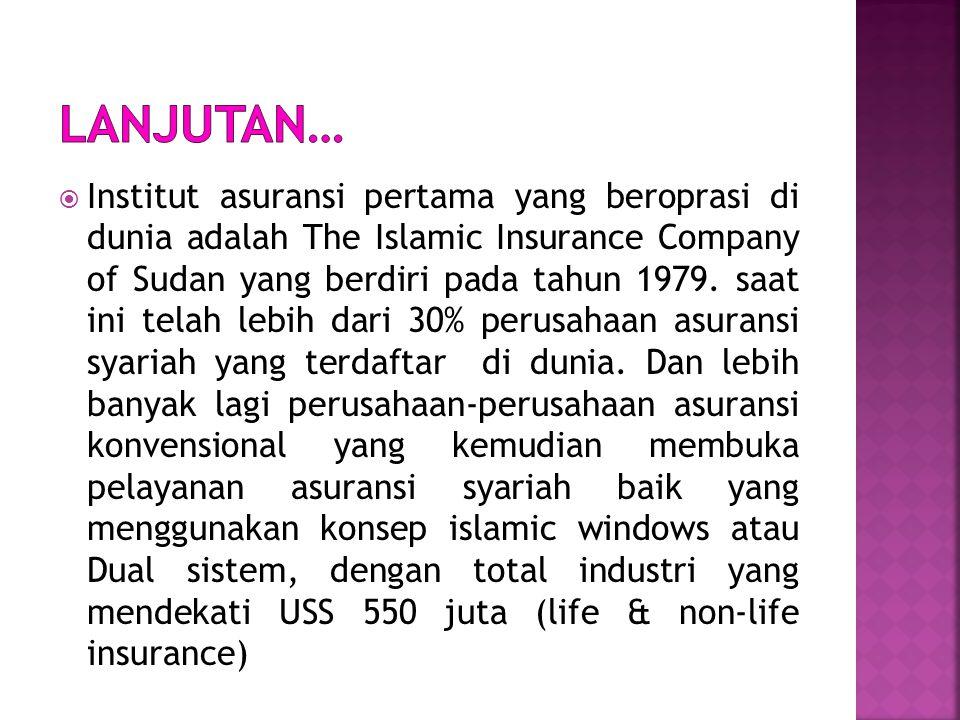  Kosep dan bentuk asuransi syariah telah dimulai oleh Ibnu Abidin (1784-1836) seorang pakar hukum madzhap Hanafi pada wal abad 19. Namun melihat kebu