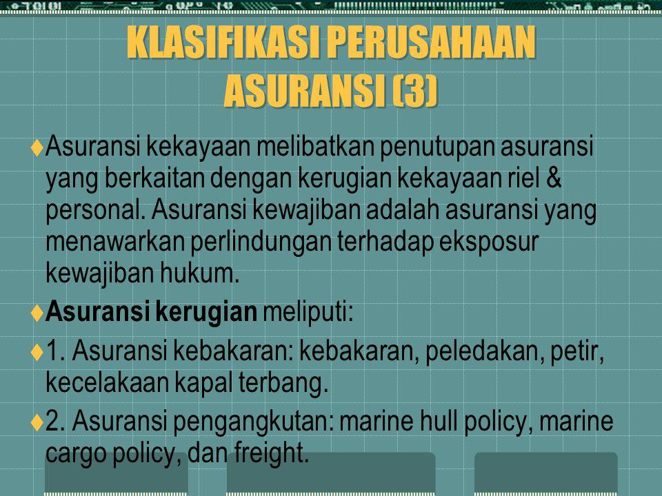 KLASIFIKASI PERUSAHAAN ASURANSI (3)  Asuransi kekayaan melibatkan penutupan asuransi yang berkaitan dengan kerugian kekayaan riel & personal. Asurans