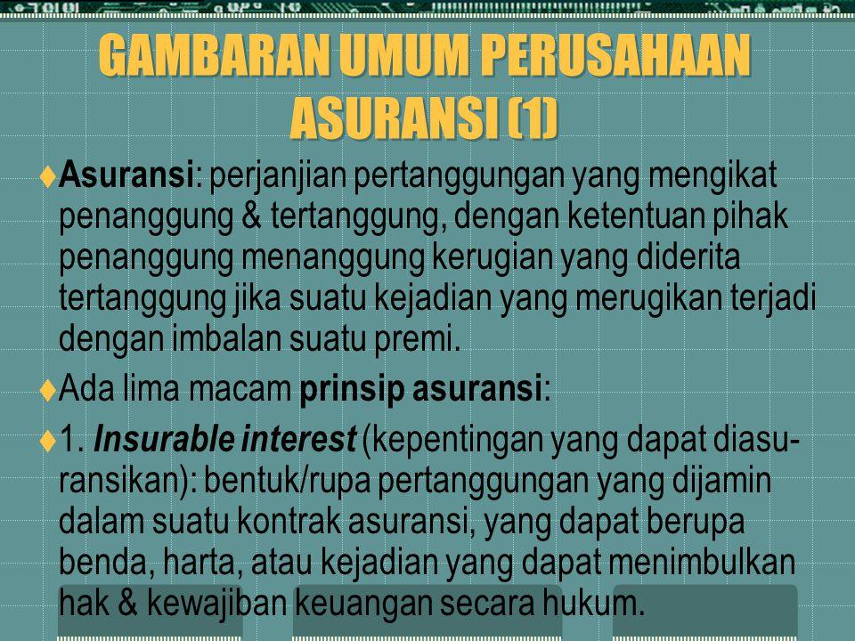 GAMBARAN UMUM PERUSAHAAN ASURANSI (1)  Asuransi : perjanjian pertanggungan yang mengikat penanggung & tertanggung, dengan ketentuan pihak penanggung