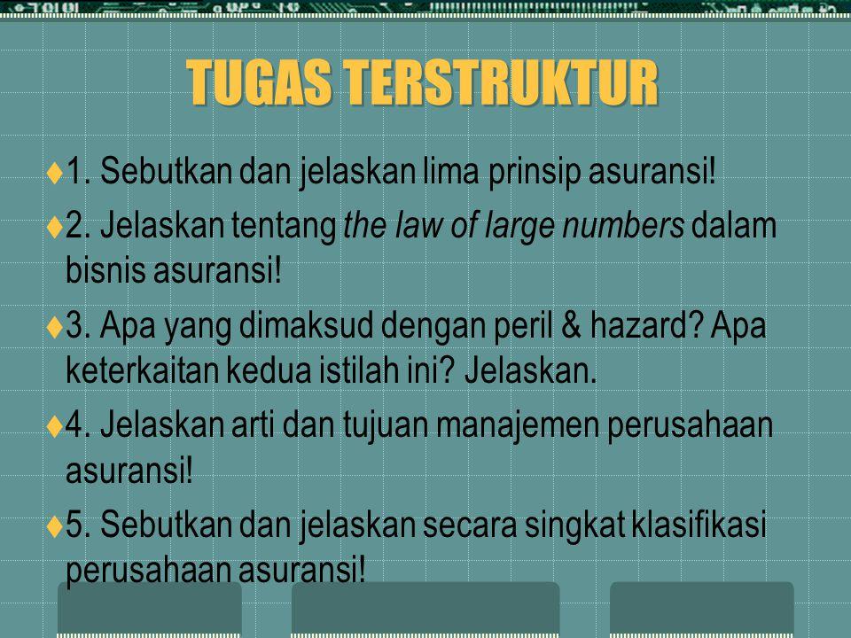 TUGAS TERSTRUKTUR  1. Sebutkan dan jelaskan lima prinsip asuransi!  2. Jelaskan tentang the law of large numbers dalam bisnis asuransi!  3. Apa yan