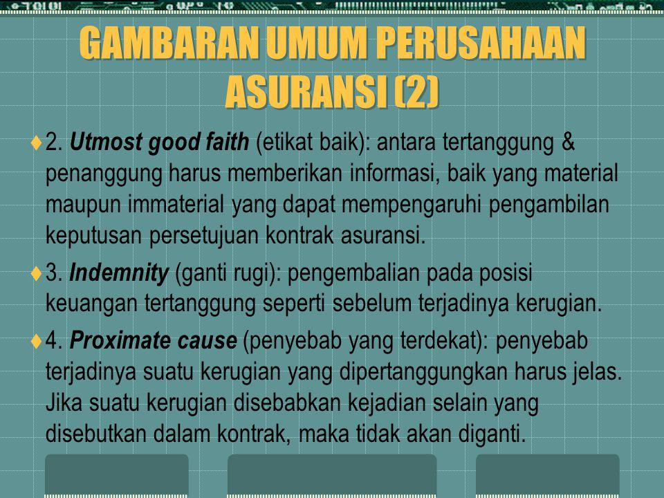 GAMBARAN UMUM PERUSAHAAN ASURANSI (2)  2. Utmost good faith (etikat baik): antara tertanggung & penanggung harus memberikan informasi, baik yang mate