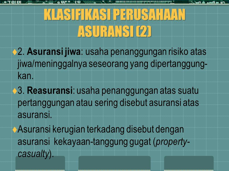 KLASIFIKASI PERUSAHAAN ASURANSI (2)  2. Asuransi jiwa : usaha penanggungan risiko atas jiwa/meninggalnya seseorang yang dipertanggung- kan.  3. Reas