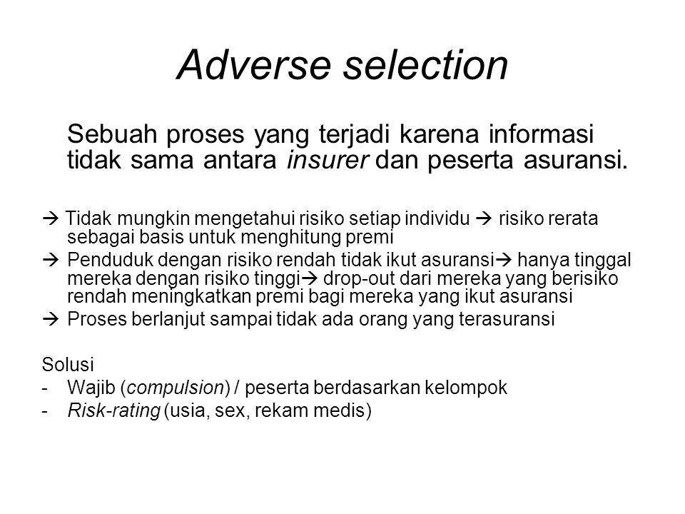 Adverse selection Sebuah proses yang terjadi karena informasi tidak sama antara insurer dan peserta asuransi.  Tidak mungkin mengetahui risiko setiap