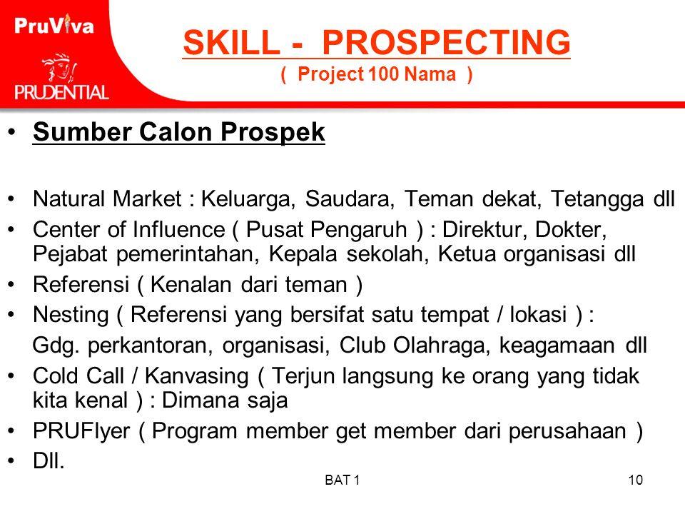 BAT 110 SKILL - PROSPECTING ( Project 100 Nama ) •Sumber Calon Prospek •Natural Market : Keluarga, Saudara, Teman dekat, Tetangga dll •Center of Influ