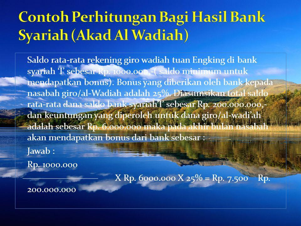 Ibu Rinrin menempatkan dana Depositonya di bank Syariah 'Y' sebesar Rp.