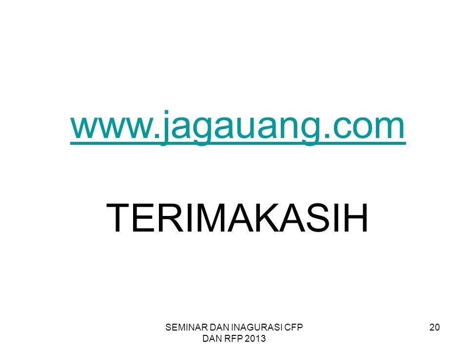 SEMINAR DAN INAGURASI CFP DAN RFP 2013 20 www.jagauang.com TERIMAKASIH