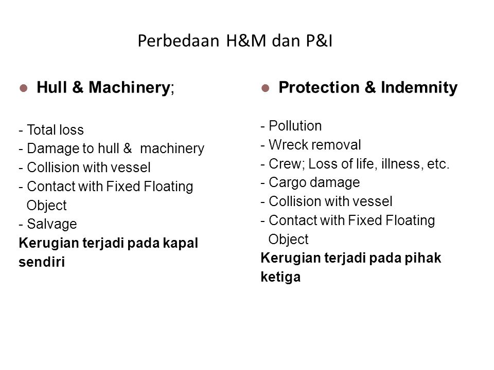  Hull & Machinery; - Total loss - Damage to hull & machinery - Collision with vessel - Contact with Fixed Floating Object - Salvage Kerugian terjadi