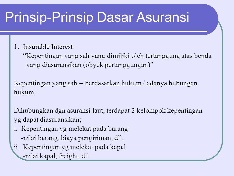 """Prinsip-Prinsip Dasar Asuransi 1. Insurable Interest """"Kepentingan yang sah yang dimiliki oleh tertanggung atas benda yang diasuransikan (obyek pertang"""