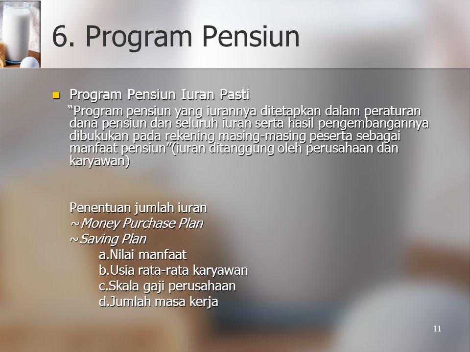 """11 6. Program Pensiun  Program Pensiun Iuran Pasti """"Program pensiun yang iurannya ditetapkan dalam peraturan dana pensiun dan seluruh iuran serta has"""