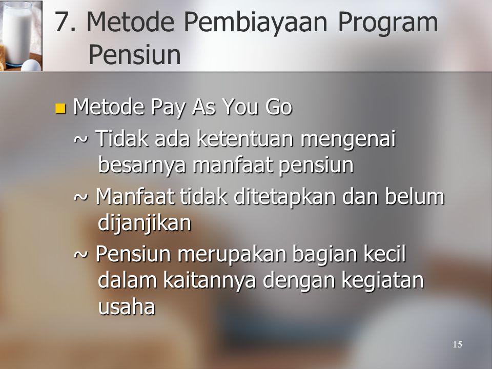 15 7. Metode Pembiayaan Program Pensiun  Metode Pay As You Go ~ Tidak ada ketentuan mengenai besarnya manfaat pensiun ~ Manfaat tidak ditetapkan dan