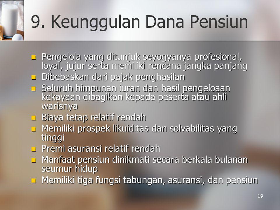 19 9. Keunggulan Dana Pensiun  Pengelola yang ditunjuk seyogyanya profesional, loyal, jujur serta memiliki rencana jangka panjang  Dibebaskan dari p
