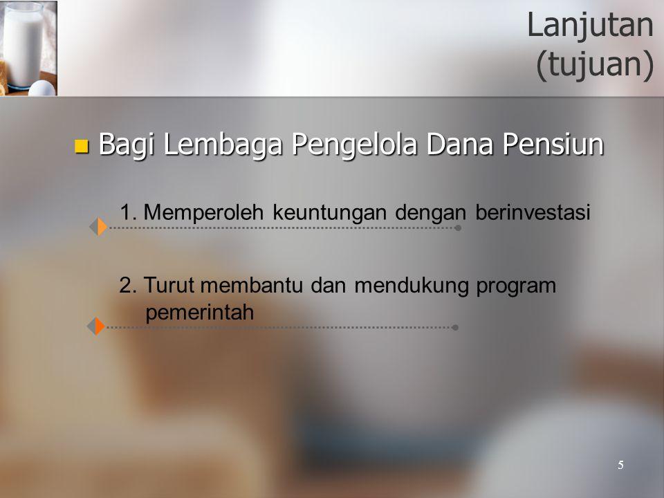 5 Lanjutan (tujuan)  Bagi Lembaga Pengelola Dana Pensiun 1. Memperoleh keuntungan dengan berinvestasi 2. Turut membantu dan mendukung program pemerin