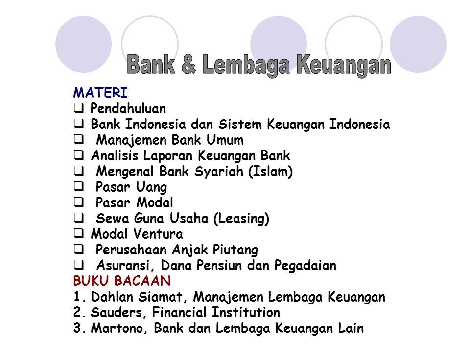 MATERI  Pendahuluan  Bank Indonesia dan Sistem Keuangan Indonesia  Manajemen Bank Umum  Analisis Laporan Keuangan Bank  Mengenal Bank Syariah (Is