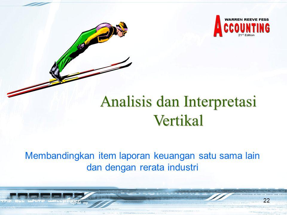 22 Analisis dan Interpretasi Vertikal Membandingkan item laporan keuangan satu sama lain dan dengan rerata industri