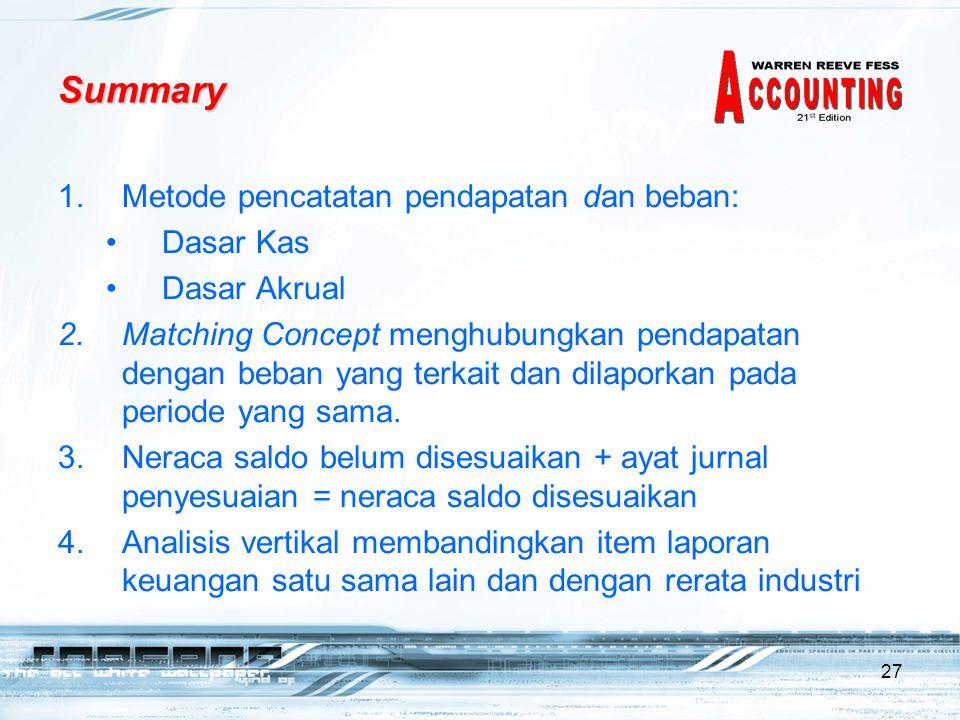 27 Summary 1.Metode pencatatan pendapatan dan beban: •Dasar Kas •Dasar Akrual 2.Matching Concept menghubungkan pendapatan dengan beban yang terkait da