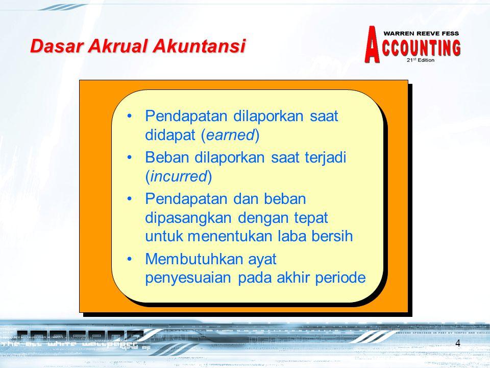 4 Dasar Akrual Akuntansi •Pendapatan dilaporkan saat didapat (earned) •Beban dilaporkan saat terjadi (incurred) •Pendapatan dan beban dipasangkan deng