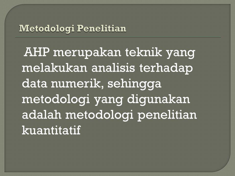 AHP merupakan teknik yang melakukan analisis terhadap data numerik, sehingga metodologi yang digunakan adalah metodologi penelitian kuantitatif