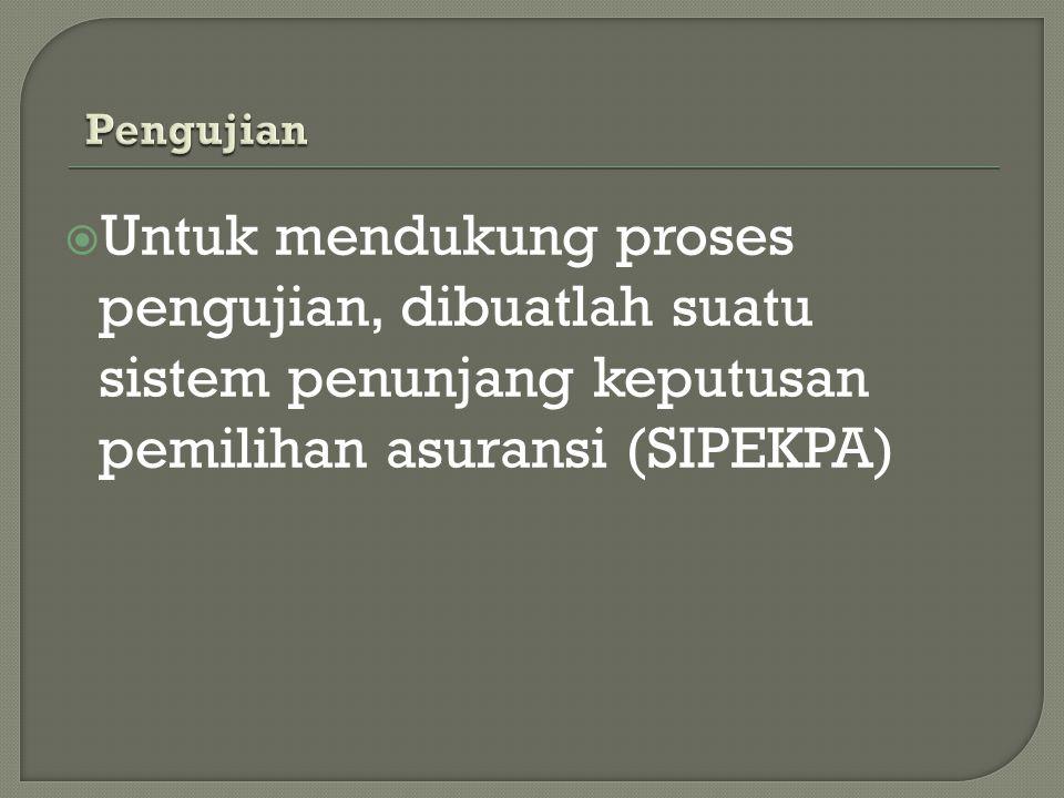  Untuk mendukung proses pengujian, dibuatlah suatu sistem penunjang keputusan pemilihan asuransi (SIPEKPA)