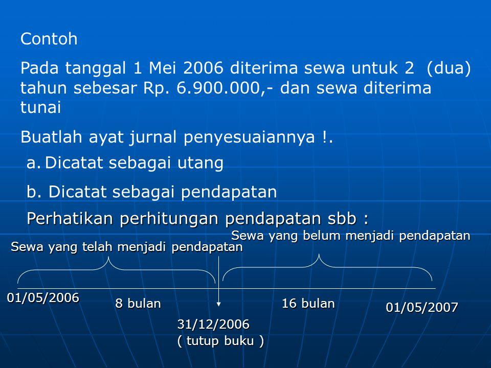 Contoh Pada tanggal 1 Mei 2006 diterima sewa untuk 2 (dua) tahun sebesar Rp. 6.900.000,- dan sewa diterima tunai Buatlah ayat jurnal penyesuaiannya !.