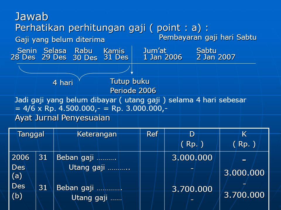 Jawab 28 Des Tutup buku Periode 2006 4 hari Gaji yang belum diterima Gaji yang belum diterima Perhatikan perhitungan gaji ( point : a) : Pembayaran ga