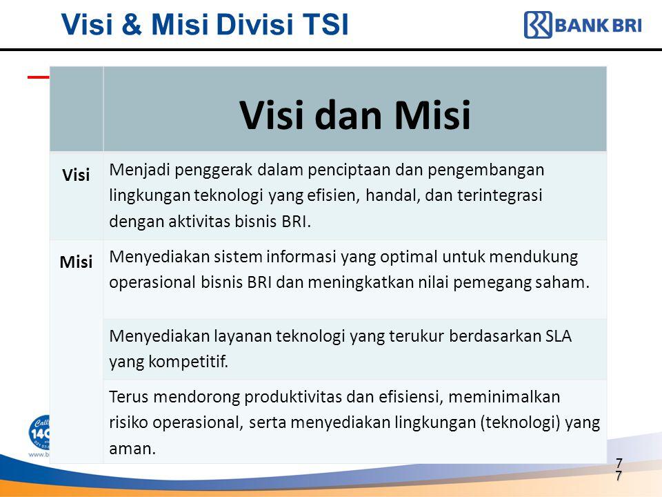 7 7 Visi & Misi Divisi TSI Visi dan Misi Visi Menjadi penggerak dalam penciptaan dan pengembangan lingkungan teknologi yang efisien, handal, dan terin